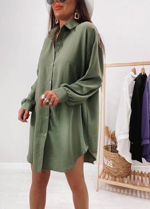 Рубашка натуральная ткань удлинённая жатка
