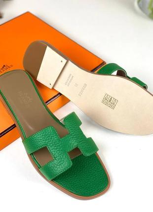 Шлепанцы женские кожаные зелёные брендовые люкс