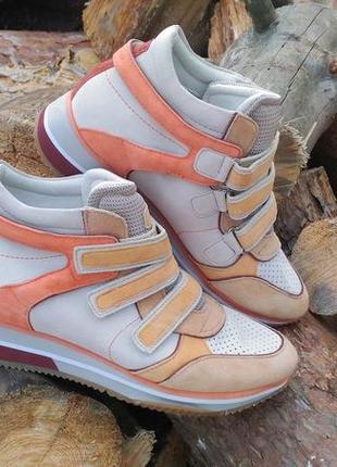 Geox модные кеды на платформе  сникерсы на липучках  кроссовки бежевые оранжевые
