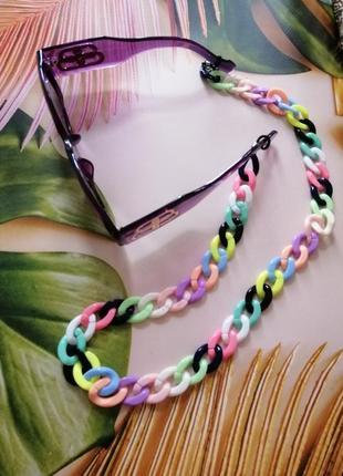 Шикарный трендовый набор: фиолетовые брендовые очки с цепью