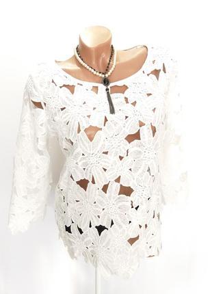 Ажурная блуза по мотивам ирландского кружева