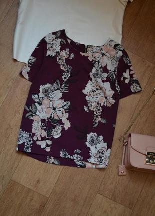 Dorothy perkins прямая блуза в принт цветы с коротким рукавом легкая футболка