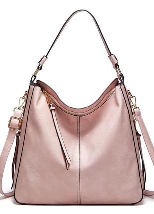 Большая розовая кожаная женская сумка
