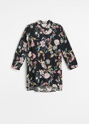Лёгкая элегантная оверсайз рубашка в цветочный принт с разрезами натуральная ткань
