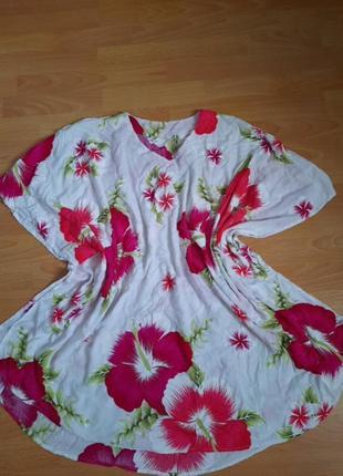 Платье туника пляжная одежда натуральный состав