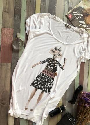 Брендовая длинная белая футболка с   леопардовым принтом  от maliparmi