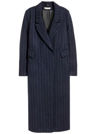 Двубортное темное-синее шерстяное пальто в полоску