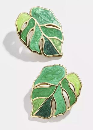 Серьги листья, весенние листочки сережки гвоздики