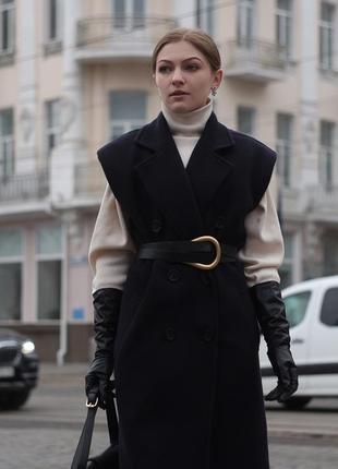 Брендовое пальто-жилет из шерсти тёмно-синее чёрное миди макси в стиле zara