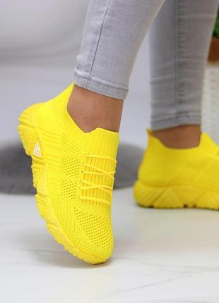 Кроссовки-носки joe, текстиль, желтые3 фото
