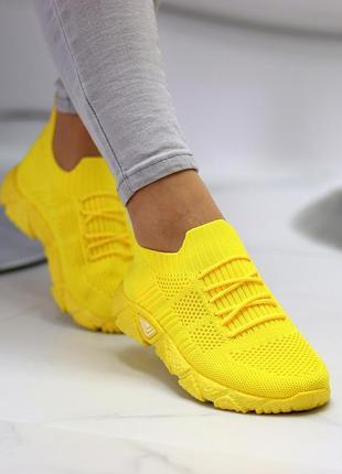 Кроссовки-носки joe, текстиль, желтые6 фото