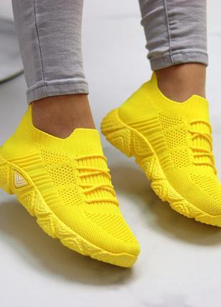Кроссовки-носки joe, текстиль, желтые