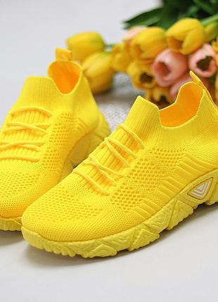 Кроссовки-носки joe, текстиль, желтые4 фото