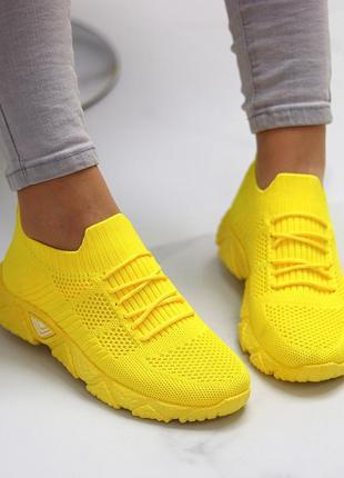 Кроссовки-носки joe, текстиль, желтые8 фото