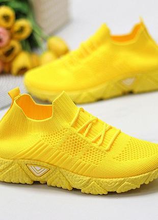 Кроссовки-носки joe, текстиль, желтые10 фото