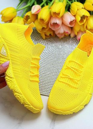 Кроссовки-носки joe, текстиль, желтые7 фото