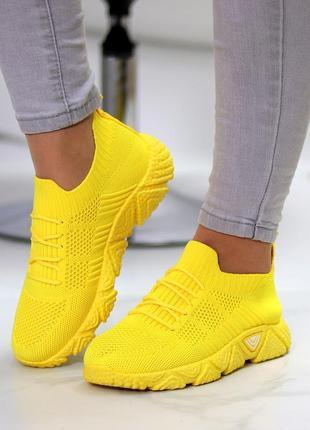 Кроссовки-носки joe, текстиль, желтые5 фото