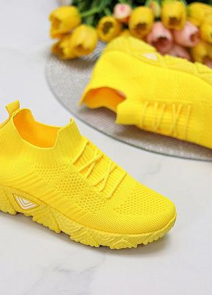 Кроссовки-носки joe, текстиль, желтые2 фото