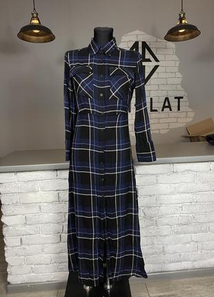 Платье в клетку на пуговицах длинное massimo dutty макси