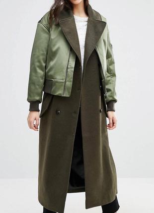 Пальто с бомбером asos р 34