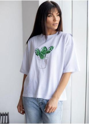 💚хлопковая белая футболка с ярким принтом💚