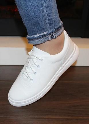 Кожаные женские белые кеды кроссовки натуральная кожа