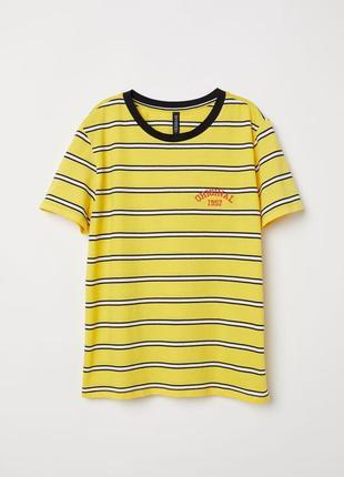 Новая яркая хлопковая футболка в полоску h&m