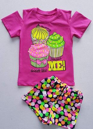Костюм для девочки летний, футболка и шорты 5053