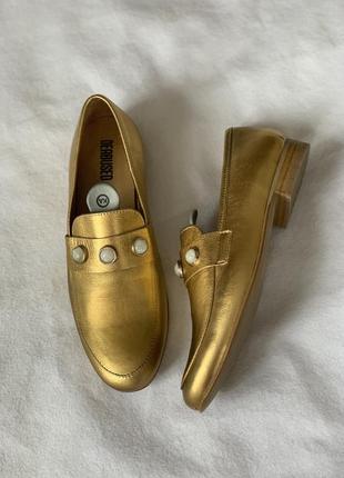 Оригинальные золотые кожаные лоферы