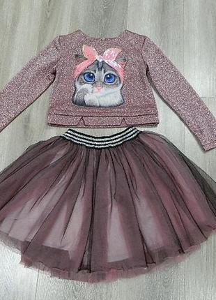 Красивый нарядный комплект костюм двойка юбка фатиновая 122-128см 7-9г