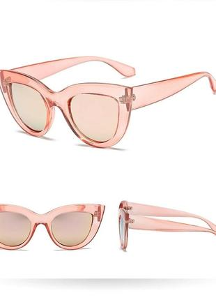 Тренд розовые очки лисички зеркальные кошечки с зеркальными линзами солнцезащитные окуляри