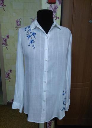 Красивая рубашка блуза белая с вышивкой primark xs/s (индия)