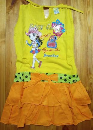 Летнее платье для девочки 2-8 лет