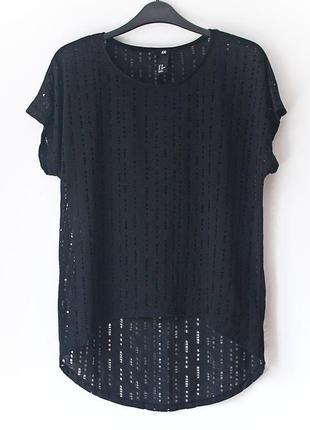 Крутая футболка в дырку с удлиненной спинкой h&m