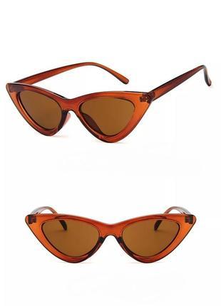 Тренд очки лисички солнцезащитные коричневые узкие кошечки под ретро окуляри сонцезахисні