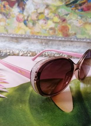 Модные розовые округлые розовые очки в красивой оправе