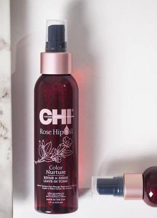 Несмываемый тоник  для окрашенных волос chi rose hip oil repair & shine leave-in2 фото