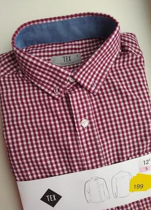 Новая мужская бордовая рубашка в клетку чоловіча сорочка в клітку tex s