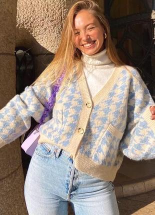 Стильный трикотажный кардиган свитер жакет