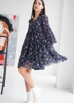 Шифоновое синее платье с рюшами в цветочек💙