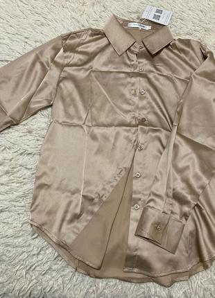 Классическая атласная рубашка блуза с длинным рукавом 6 цветов