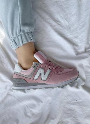 Женские кроссовки new balance 574 pink grey наложка