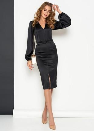 Черное платье, атласное платье, платье рукав фонарик