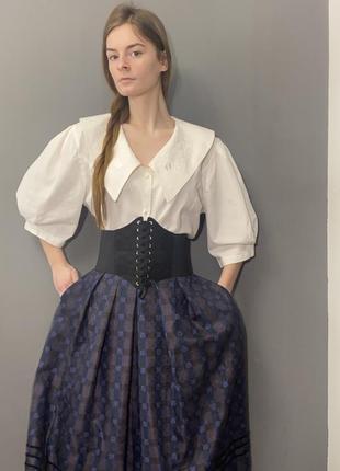Винтажная блуза большой вышитый воротник рукава-фонарики