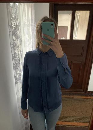 Синя шовкова блуза сорочка рубашка