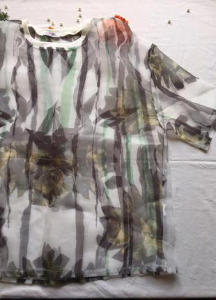Блуза майка футболка из фатина тюля с принтом парео молодежная коллекция