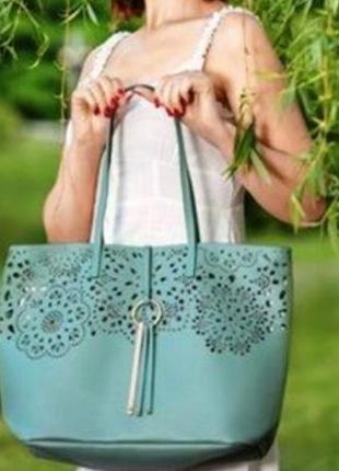 Стильная сумка мятного цвета4 фото