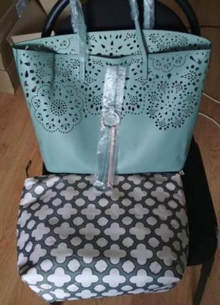 Стильная сумка мятного цвета3 фото
