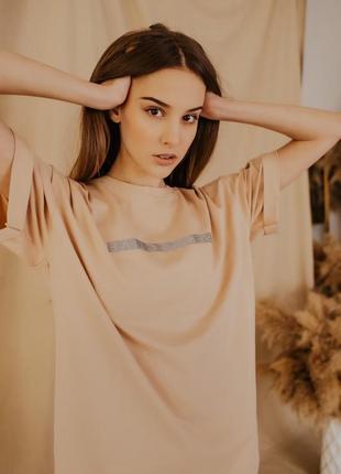 Женский костюм футболка + шорты comfort бежевые с рефлективным принтом