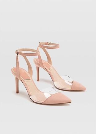 Пудровые туфли,босоножки под замшу stradivarius.
